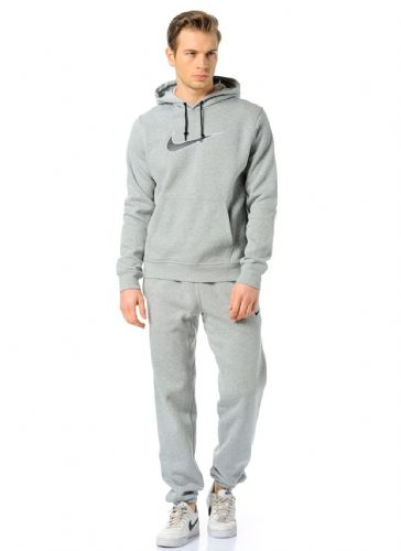 Nike Mens Brushed Fleece Warm Up Hooded Sports Jogging Tracksuit Top & Bottom Grey